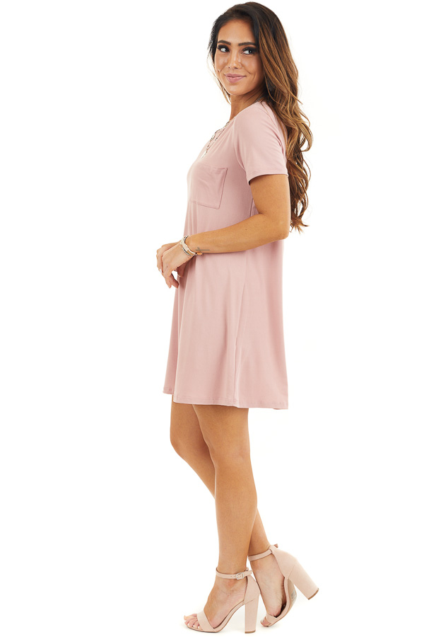 Dusty Rose Soft Knit Mini Dress with Short Sleeves side full body