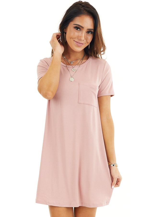 Dusty Rose Soft Knit Mini Dress with Short Sleeves front close up