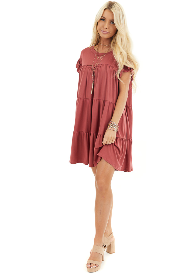 Marsala Soft Knit Tiered Mini Dress with Ruffle Sleeves front full body