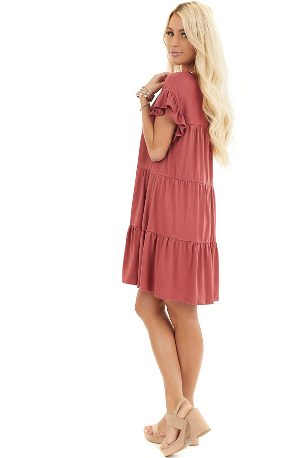 Marsala Soft Knit Tiered Mini Dress with Ruffle Sleeves side full body