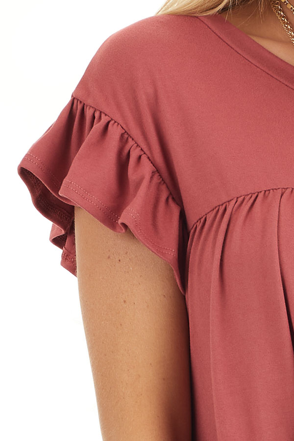 Marsala Soft Knit Tiered Mini Dress with Ruffle Sleeves detail