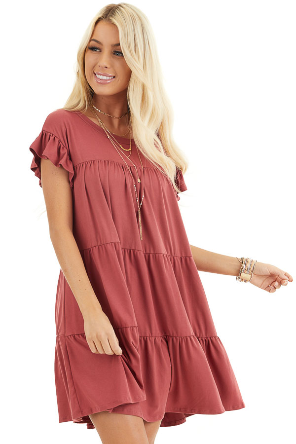 Marsala Soft Knit Tiered Mini Dress with Ruffle Sleeves front close up