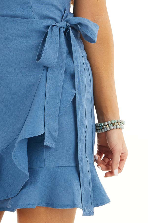 Ocean Blue Faux Wrap Style Woven Dress with Ruffle Detail detail