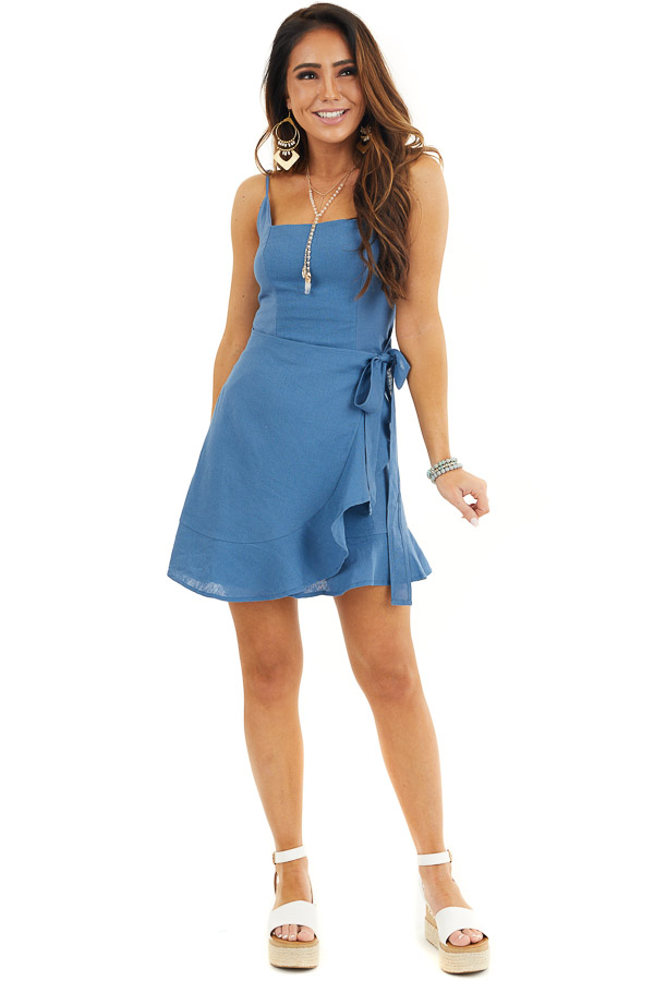 Ocean Blue Faux Wrap Style Woven Dress with Ruffle Detail front full body