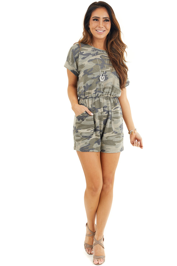 Faded Green Camo Print Romper with Pockets and Keyhole Back front full body