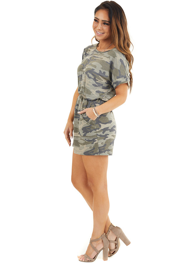 Faded Green Camo Print Romper with Pockets and Keyhole Back side full body