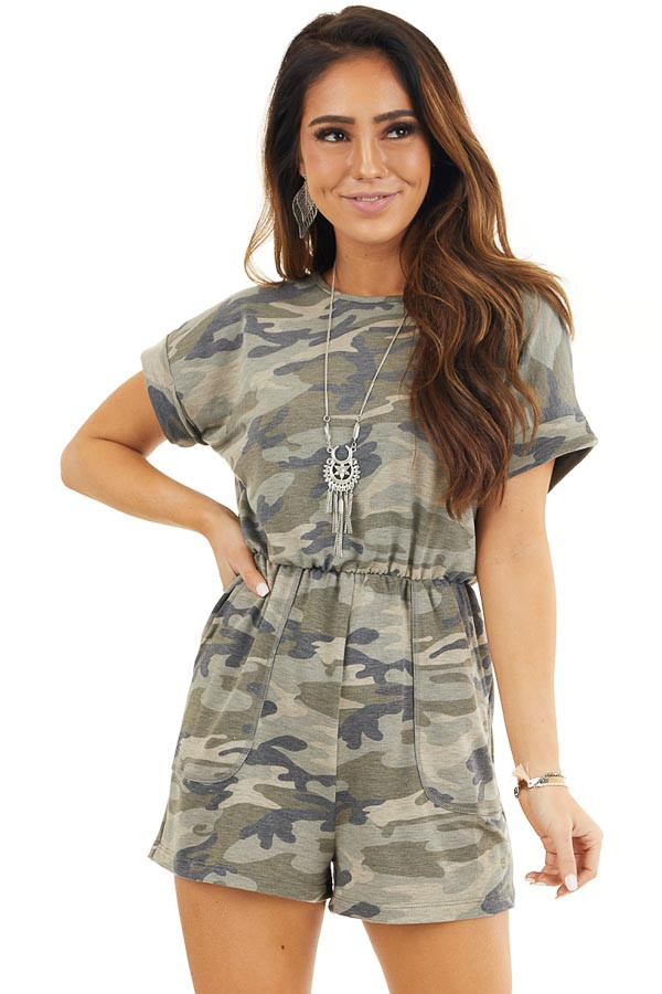 Faded Green Camo Print Romper with Pockets and Keyhole Back front close up