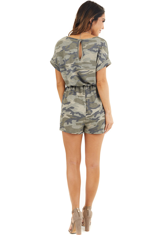 Faded Green Camo Print Romper with Pockets and Keyhole Back back full body
