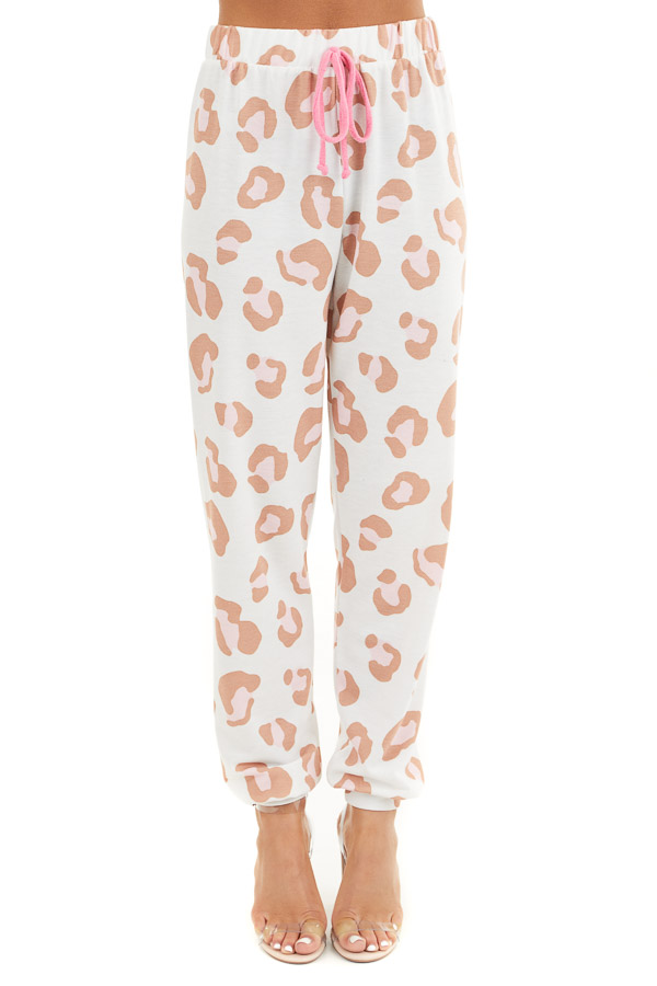 Ivory and Toffee Leopard Print Joggers with Pink Drawstring front view
