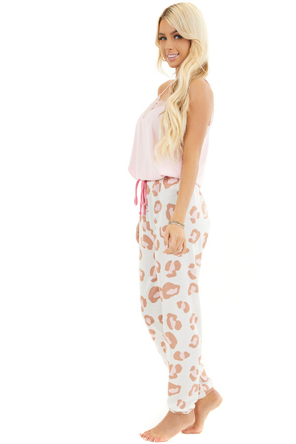 Ivory and Toffee Leopard Print Joggers with Pink Drawstring side full body