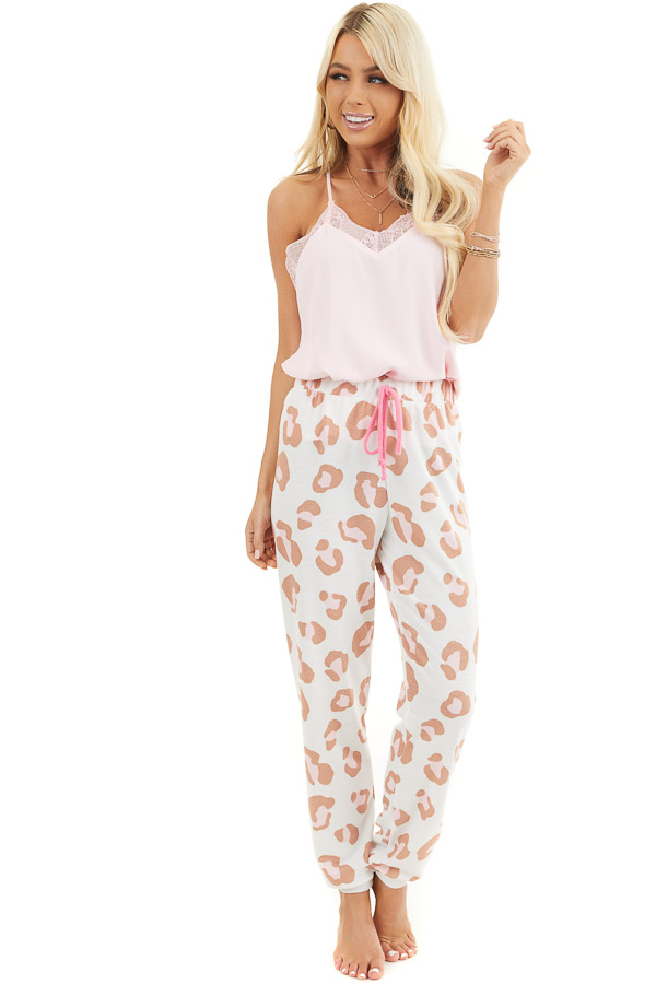 Ivory and Toffee Leopard Print Joggers with Pink Drawstring front full body