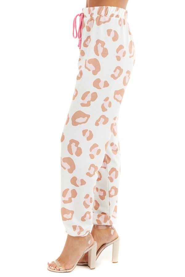 Ivory and Toffee Leopard Print Joggers with Pink Drawstring side view
