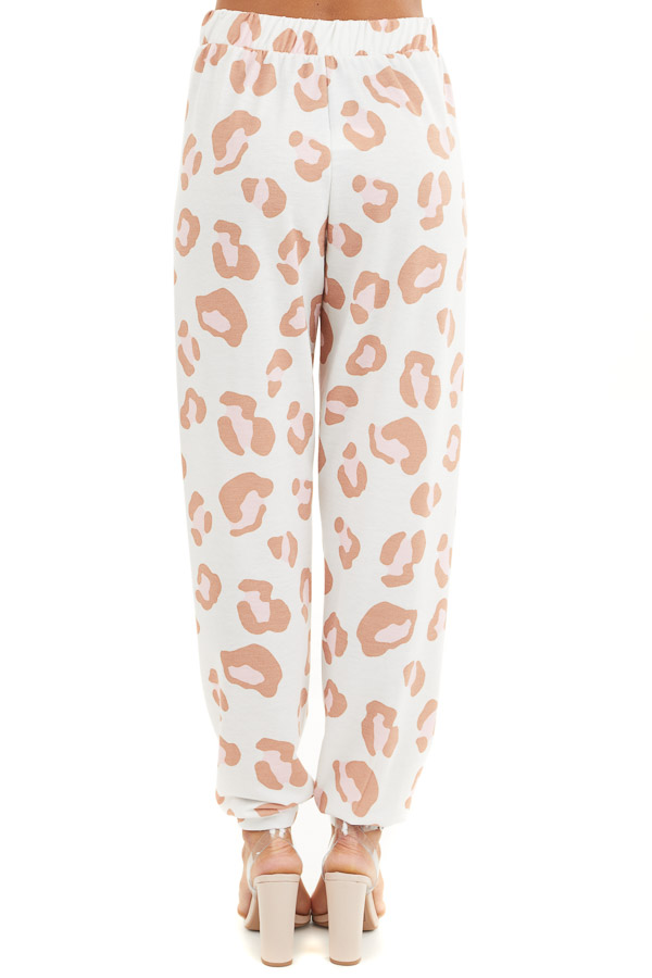 Ivory and Toffee Leopard Print Joggers with Pink Drawstring back view