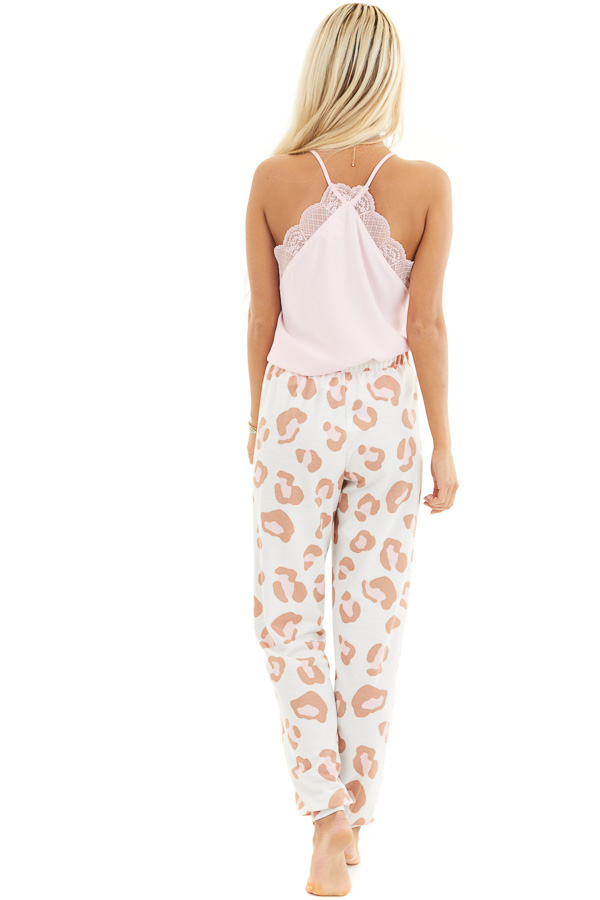 Ivory and Toffee Leopard Print Joggers with Pink Drawstring back full body
