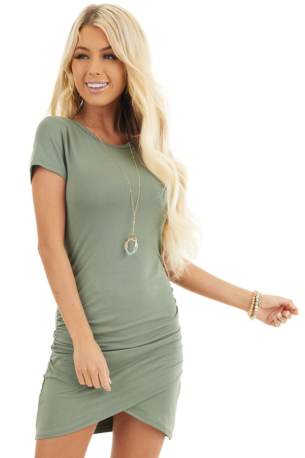 Olive Short Sleeve Knit Dress with Side Ruching Detail front close up