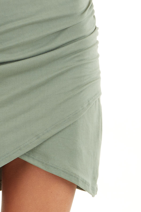 Olive Short Sleeve Knit Dress with Side Ruching Detail detail