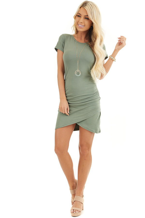 Olive Short Sleeve Knit Dress with Side Ruching Detail front full body