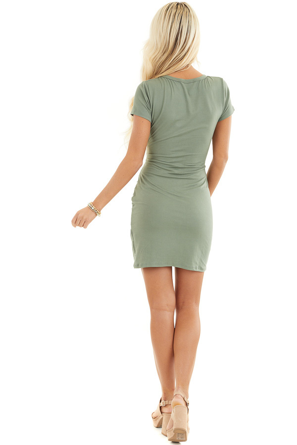 Olive Short Sleeve Knit Dress with Side Ruching Detail back full body