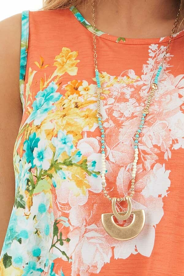 Coral Floral Printed Sleeveless Top with Round Neckline detail