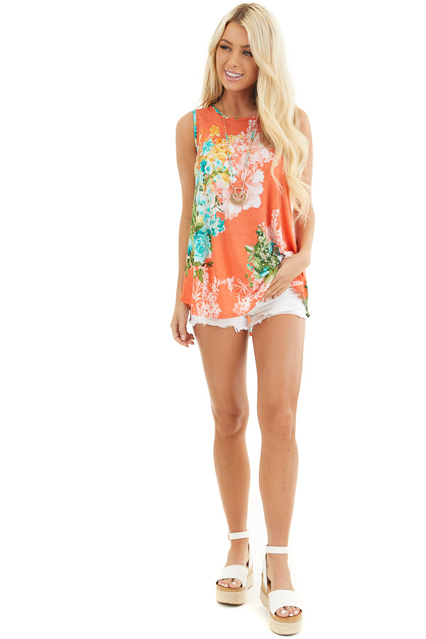 Coral Floral Printed Sleeveless Top with Round Neckline front full body