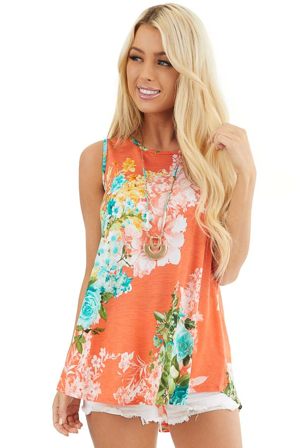 Coral Floral Printed Sleeveless Top with Round Neckline front close up