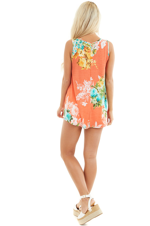 Coral Floral Printed Sleeveless Top with Round Neckline back full body