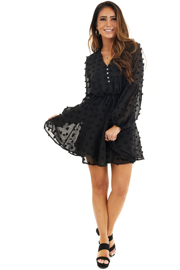 Black Swiss Dot Dress with Long Bubble Sleeves front full body