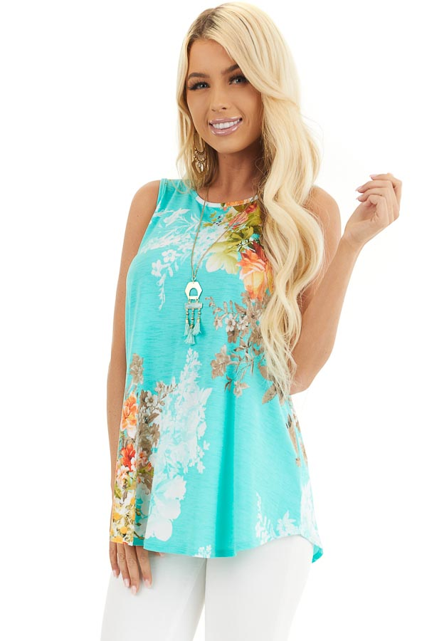 Aqua Floral Printed Sleeveless Top with Round Neckline front close up