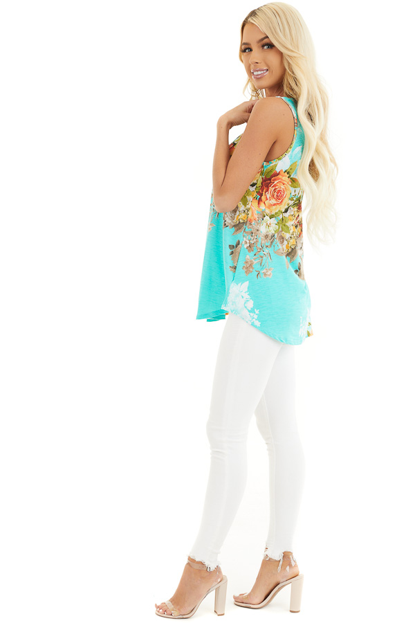 Aqua Floral Printed Sleeveless Top with Round Neckline side full body