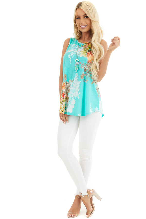 Aqua Floral Printed Sleeveless Top with Round Neckline front full body