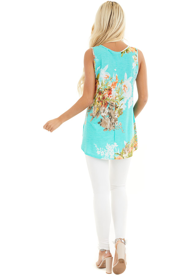 Aqua Floral Printed Sleeveless Top with Round Neckline back full body