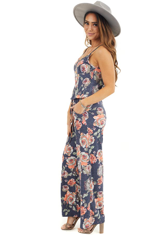 Stormy Blue Floral Print Spaghetti Strap Jumpsuit side full body