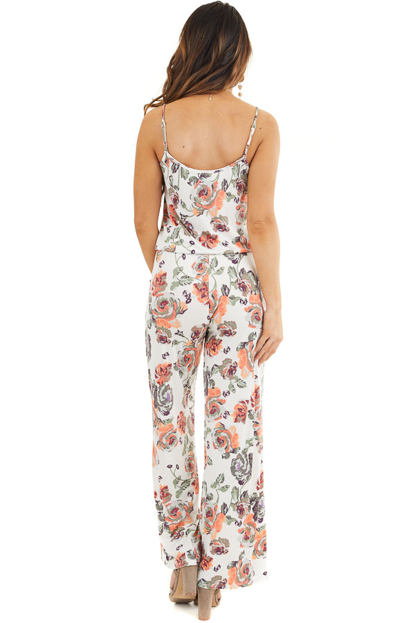 Ivory and Coral Floral Print Spaghetti Strap Jumpsuit back full body