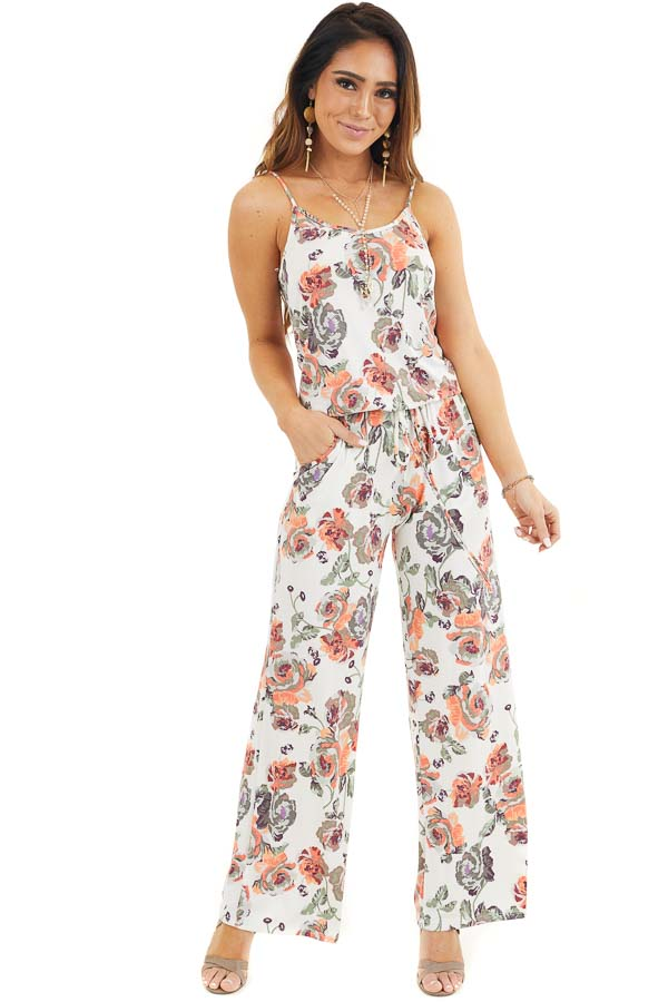 Ivory and Coral Floral Print Spaghetti Strap Jumpsuit front full body
