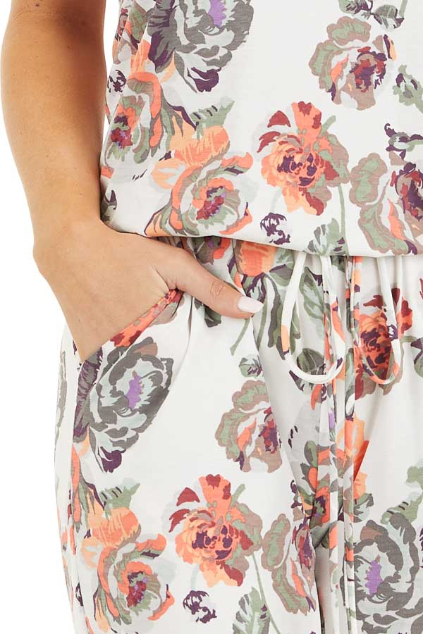Ivory and Coral Floral Print Spaghetti Strap Jumpsuit detail