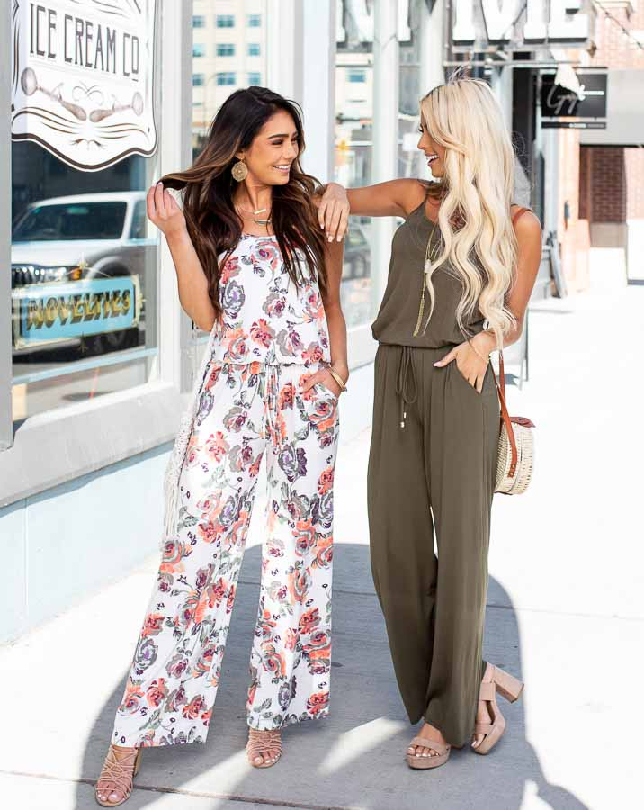 Ivory and Coral Floral Print Spaghetti Strap Jumpsuit