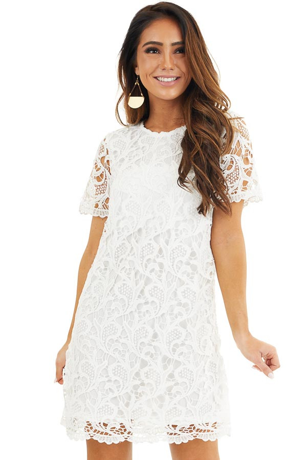 Off White Crochet Lace Mini Dress with Short Sleeves front close up