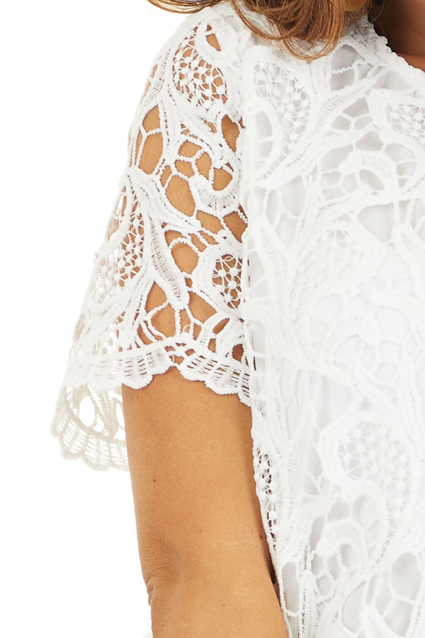 Off White Crochet Lace Mini Dress with Short Sleeves detail