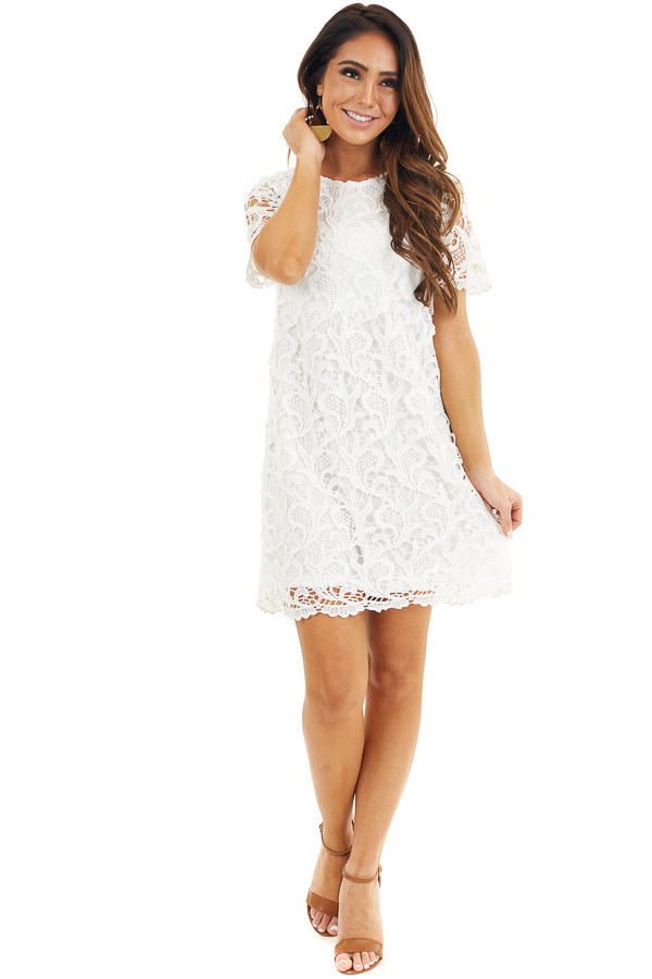 Off White Crochet Lace Mini Dress with Short Sleeves front full body