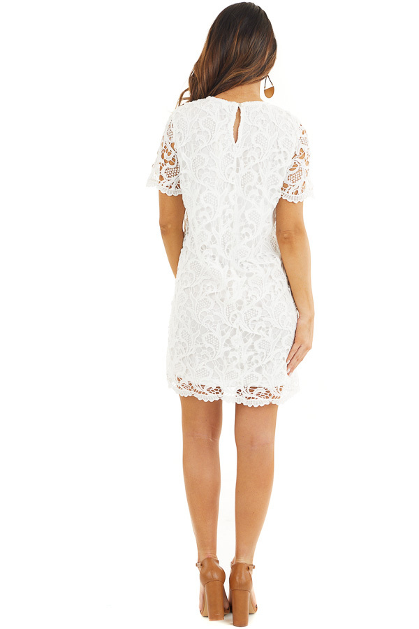 Off White Crochet Lace Mini Dress with Short Sleeves back full body