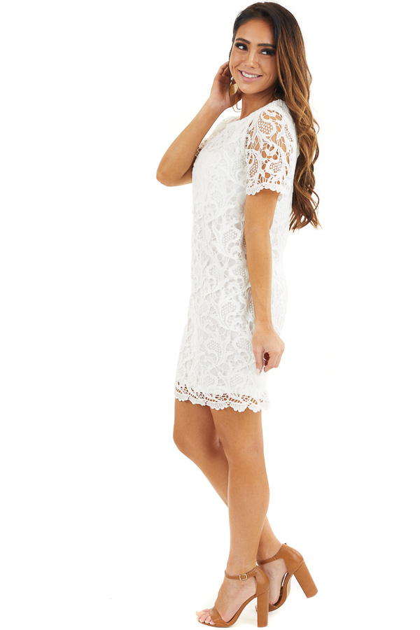 Off White Crochet Lace Mini Dress with Short Sleeves side full body
