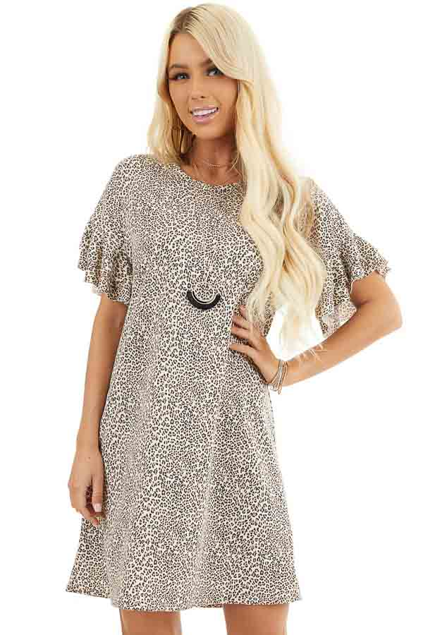 Champagne Leopard Print Mini Dress with Ruffle Sleeves front close up