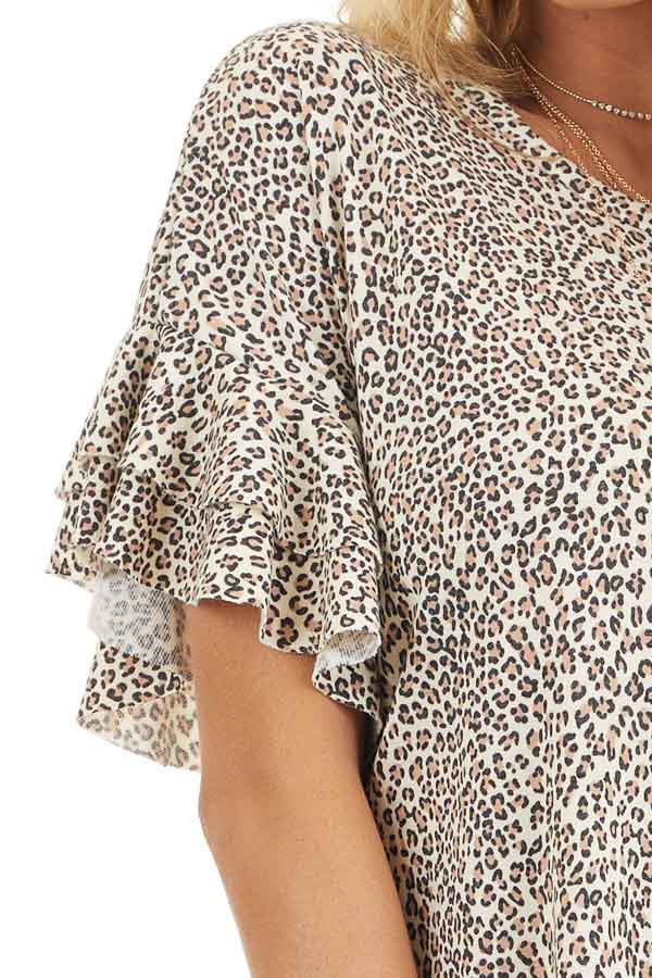 Champagne Leopard Print Mini Dress with Ruffle Sleeves detail