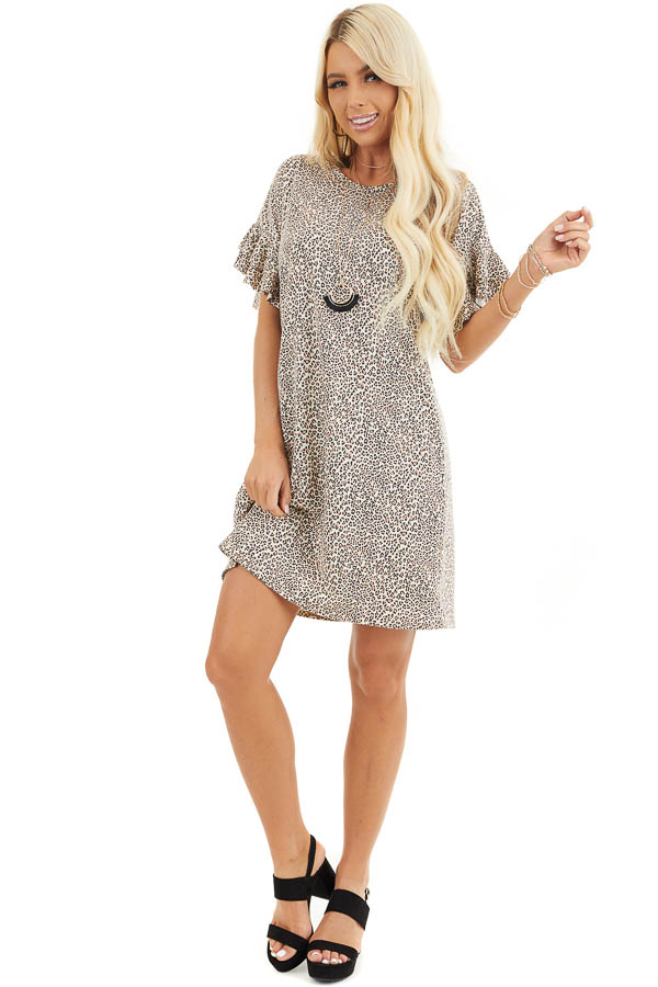 Champagne Leopard Print Mini Dress with Ruffle Sleeves front full body