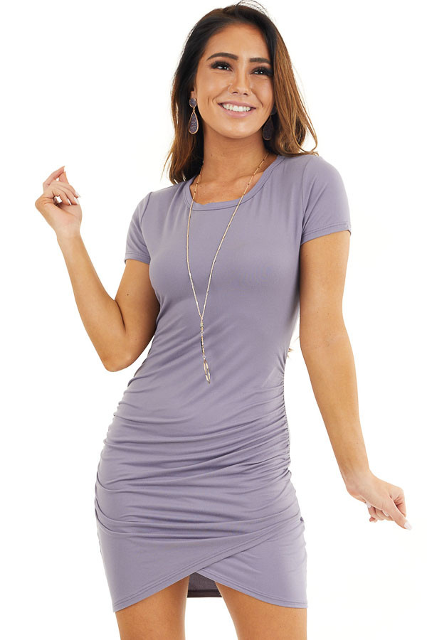 Lavender Short Sleeve Knit Dress with Side Ruching Detail front close up