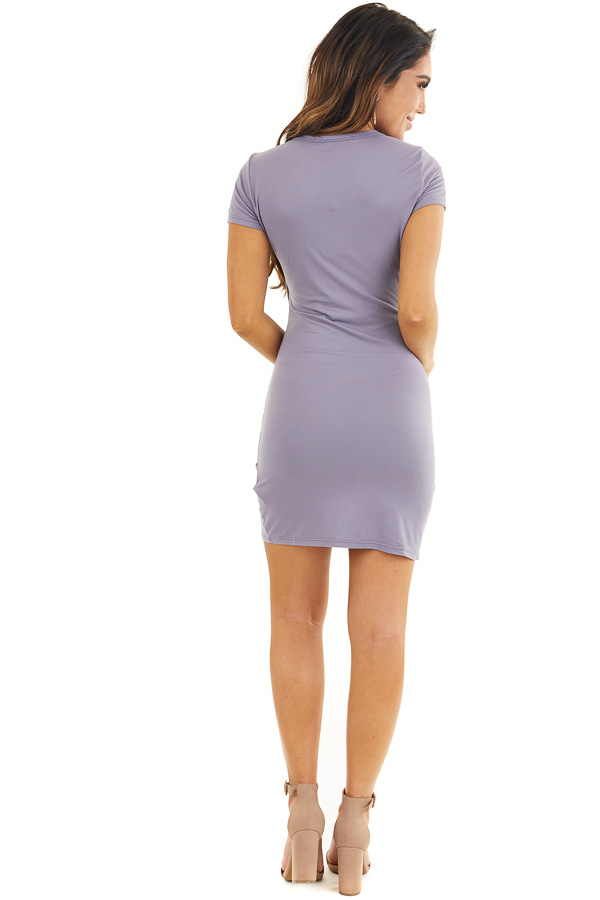 Lavender Short Sleeve Knit Dress with Side Ruching Detail back full body