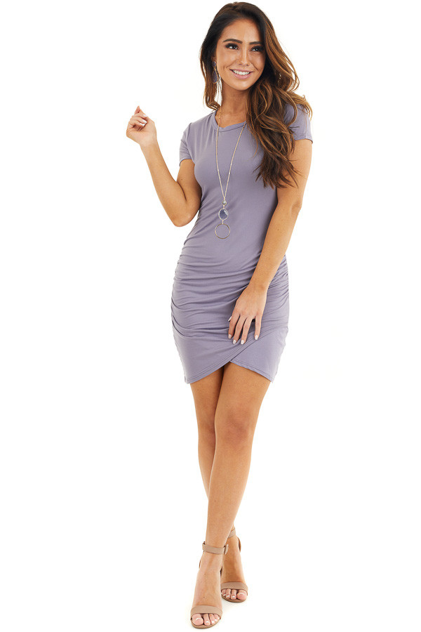 Lavender Short Sleeve Knit Dress with Side Ruching Detail front full body