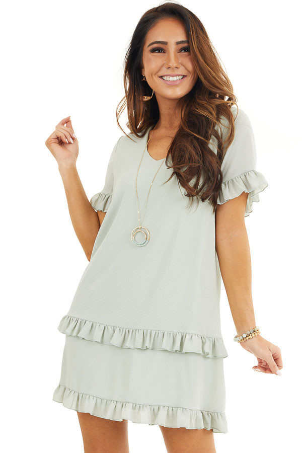 Sage Green V Neck Mini Dress with Tiered Ruffle Details front close up