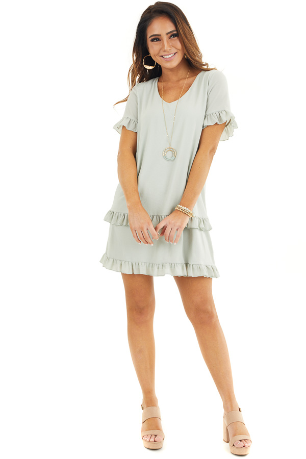 Sage Green V Neck Mini Dress with Tiered Ruffle Details front full body