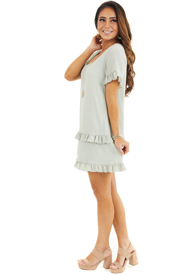 Sage Green V Neck Mini Dress with Tiered Ruffle Details side full body
